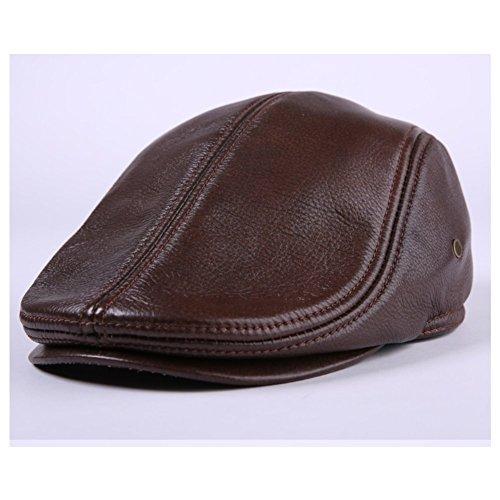 [WSHINE Flat Cap Cabby Hat Genuine Leather Vintage Newsboy Cap Ivy Driving Cap (dark brown, 2XL] (Duckbill Costume Pattern)