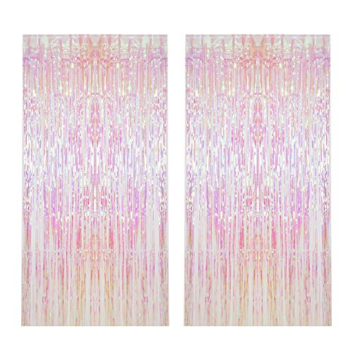 CCINEE 2pcs Metallic Foil Fringe Curtain Transparent Pink Backdrop Decorative Door Window Curtain for Birthday Party Baby Shower Wedding Decoration