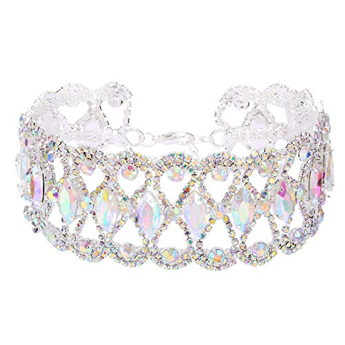 NABROJ Bling Iridescent Rhinestone Chokers Wide Clear Crystal Statement Necklace Drag Queen Jewelry for Prom 1 Pc-HL21 Silver Crystal