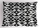 Lunarable Geometric Pillow Sham, Classical Mexican Motifs with Triangles and Rhombuses Monochrome Shapes, Decorative Standard King Size Printed Pillowcase, 36 X 20 inches, Pale Grey and Black