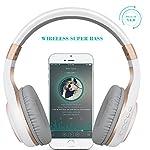 Riwbox-XBT-80-Cuffie-over-ear-Bluetooth-Wireless-pieghevoli-stereo-con-microfono-e-controllo-del-volume-e-jack-per-PC-cellulari-TV-iPad-White-Gold