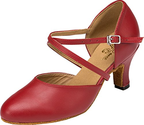 Abby Womens Latin Tango Cha-Cha Salsa Party Modern Kitten Heel Round-Toe Leather Dance-Shoes Red(2IN) US Size8.5