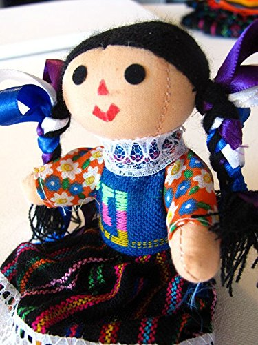 Mexican Rag Doll Artisan Hand Made Maria Costume Mexico Fair Trade 7 Toy Girls w/ Worry Doll Pin Gift