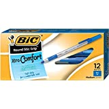 BIC Round Stic Grip Ball Pens Stick Medium Point Dozen Box-12, Blue - GSMG11-BLU
