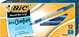 BIC Round Stic Grip Xtra Comfort Ballpoint Pen, Medium Point (1.2mm), Blue, 12-Count