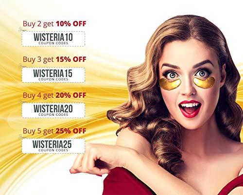 515zFPSBu1L - Wisteria Beaute Luxury 24k Gold Anti-Aging Eye Masks, Under Eye Patches/Under Eye Masks for Puffy Eyes & Under Eye Bags Treatment, Improves Elasticity (15 Pairs)