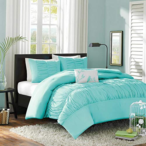 Kaputar Beautiful Soft Aqua Blue Teal Pinch Pleat Ruched Ruffled Girls Duvet Cover Set | Model CMFRTRSTS - 3988 | Twin Twin XL Comforter Version ()