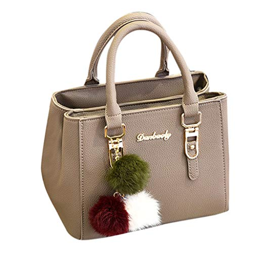 MaxFox Women Tote Handbag,Solid Sequins Detachable Covertible Purse Messenger Shoulder Bag with Hairball Ornaments (Khaki)