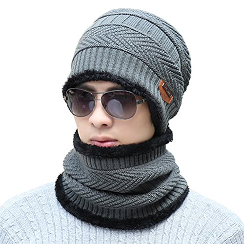 Supstar Winter Beanie Hat Scarf Set Wool Warm Knit Hat Thick Skull Cap for Men (Mens Wool Knit Scarf)
