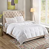 100% Cotton Down Comforter White Goose Duck Down And Feather Filling,Hypoallergenic. All Season Duvet Insert or Stand-Alone Comforter (Queen or Full)