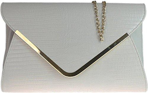 Grey Croc Ladies Navy Evening Flat Animal Envelope Bag Clutch Print 7qHp6