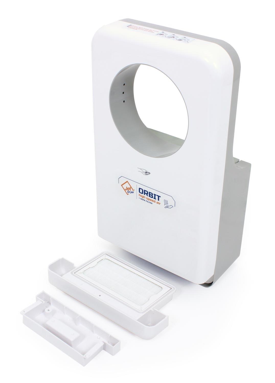 asciugamani elettrico Orbit/ /Asciugamani veloce e potente realizzato a mano con sistema antigoccia colore bianco Jet Dryer