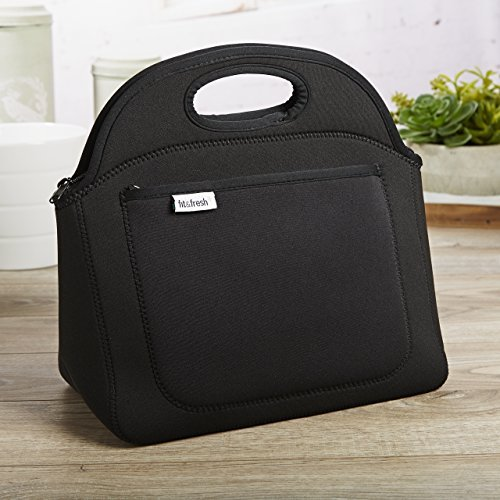 Fit & Fresh Rosewood Neoprene Lunch Bag for Adults and Kids, Lightweight, Washable, Zipper, Waterproof, Black