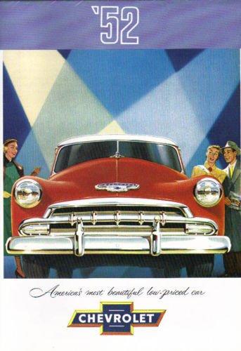1952 CHEVROLET DEALERSHIP SALES BROCHURE For Fleetline, Bel Air, Styleline - Models -Deluxe 2-Door Sedan, Special 4-Door Sedan, Special Sport Coupe, Special Business Coupe, Convertible, Station Wagons Styleline Deluxe 2 Door Sedan