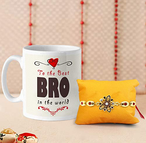 (TIED RIBBONS Rakhi for Brother Combo (Designer Rakhi, Printed Coffee Mug, Rakshabandhan Special Card))