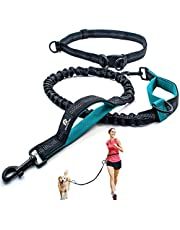 Hands Free Dog Leash for Running, Walking, Hiking, Jogging,Training for Medium and Large Dogs up to 150 lbs, Durable Dual Handle Waist Leash with Reflective Bungee and Adjustable Waist Belt