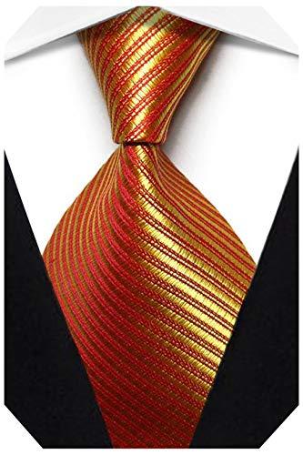 Wehug Men's Classic Solid Tie Silk Woven Necktie Jacquard Neck Gold Ties For Men LD0059