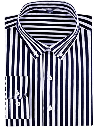 - SPAREE Men's Long Sleeve Vertical Striped Slim Fit Dress Shirts (X-Large, Black White)