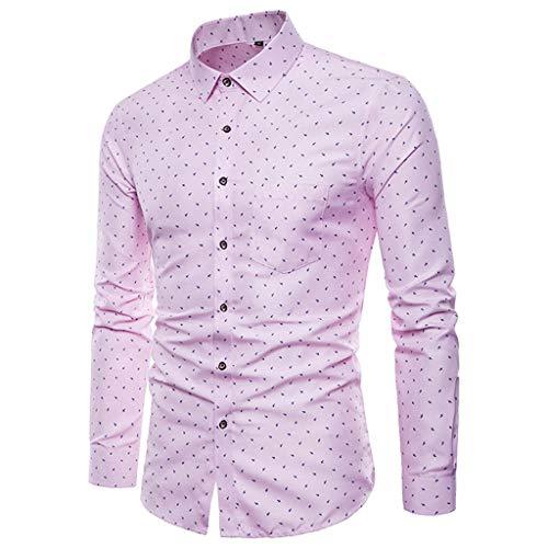 Fashion Shirt for Men, SFE Men's New Printed Long Sleeve Shirts Slim Comfortable Long Sleeve Shirt Pink -