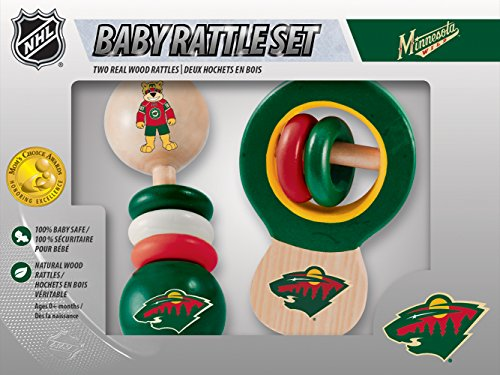 MasterPieces NHL Minnesota Wild Real Wood Baby Rattles (2-Pack)