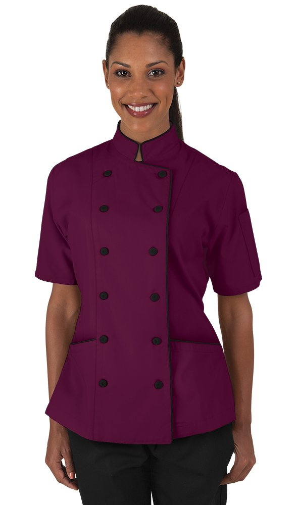 Women's Wine Chef Coat with Piping (XS-3X) (Large)