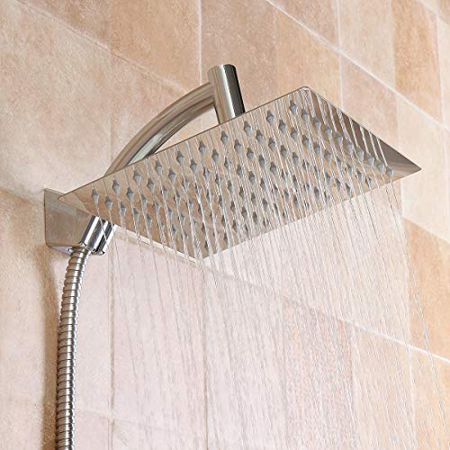 Generic Square 8 Inch Rainfall Shower Head Extension with Shower Arm Hose Kit Overhead