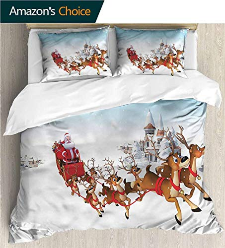 carmaxs-home Full Queen Duvet Cover Sets,Box Stitched,Soft,Breathable,Hypoallergenic,Fade Resistant Kids Bedding-Does Not Shrink Or Wrinkle-Santa Christmas Ride On Sleigh (104