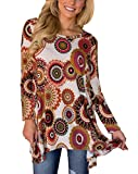 Tovly Women Plus Size Long Sleeve Tunic Tops Loose Floral Print Shirt (US XXL, Taupe Red)