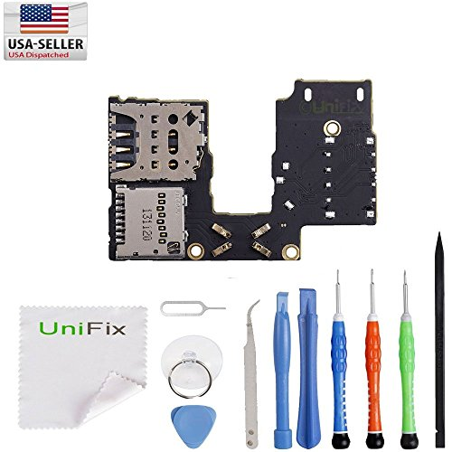 Unifix-Micro SD Sim Card Reader Holder Flex Replacement for Motorola Moto G3 3rd Gen XT1550 Single Sim + Tool Kit