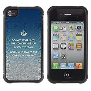 All-Round híbrido Heavy Duty de goma duro caso cubierta protectora Accesorio Generación-II BY RAYDREAMMM - Apple iPhone 4 / 4S - Crown Perfect King Inspiring Message