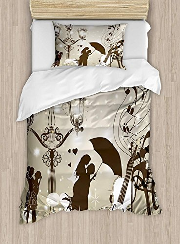 (Child queen bedding sets,Romantic Duvet Cover Set,Kissing Couples on Street with Lanterns Violin Music Love Valentine's Theme,1 Comforter Cover 1 Bed Sheets 2 Pillow Cases,,Dust Dark Taupe)