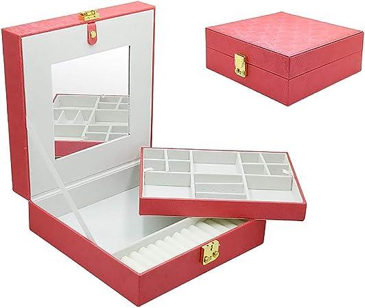 XM&LZ PU Cuero Estuche De Joyas para Las Mujeres,2 Capa Caja Joyero Organizador con Espejo,portátil Mostrar Estuche De Almacenamiento para Collares Anillos Aretes Rojo 26x26x10cm(10x10x4inch): Amazon.es: Hogar