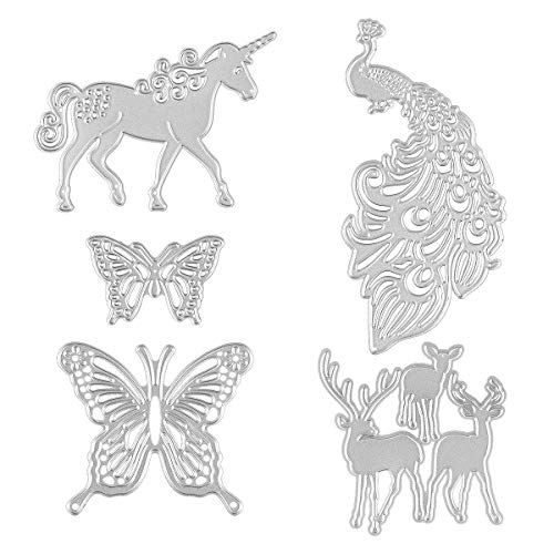 Animals Die - 5 Set Animal Die Cutters for Card Making - Unicorn, Peacock, Butterfly and Deer, Dies Cutting Stencil for Scrapbooking DIY Craft