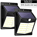 Solar Lights Outdoor, Jorft 2 Pack 50 LED 500LM Wireless Solar Wall Lamp Human/Light Sensor Waterproof Bright Lights for Garden, Fence, Door, Yard or Entrance Use with Double-Side Tape