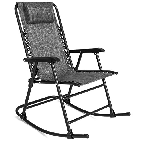 Best Choice Products Foldable Zero Gravity Rocking Patio Recliner Chair - Gray