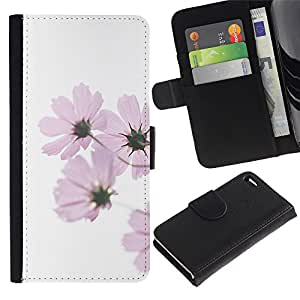 WINCASE Cuadro Funda Voltear Cuero Ranura Tarjetas TPU Carcasas Protectora Cover Case Para Apple Iphone 4 / 4S - flor púrpura verde blanco minimalista