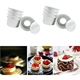 lzn 10pcs Aluminum Alloy 2 Inch Cupcake Cake Pans Cake Mold Muffin Pan with Removable Bottom Bakeware Baking Tools