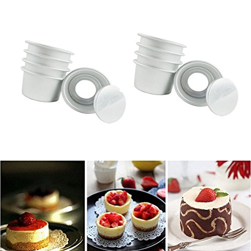 lzndeal 10pcs Aluminum Alloy 2 inch Cupcake Cake Pans Cake Mold Muffin Pan with Removable Bottom Bakeware Baking Tools (10pcs)