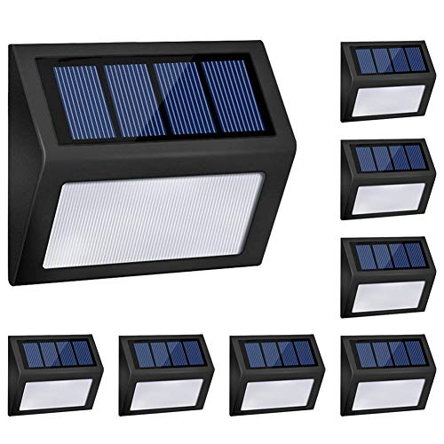 Honor-Y LED Solar Lights Outdoor, Solar Powered Step Lights Wireless Waterproof Outdoor Security Lamps Lighting for Front Door/Back Yard/Driveway/Garage/Outdoor Wall (White Light, 8 Pack) by Honor-Y