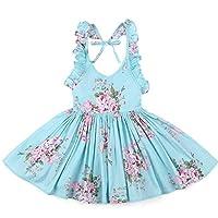 Girls Cotton Vintage Print Floral Princess Dress