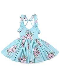 Flofallzique Blue Flower Girls Dress Cotton Vintage Backless Sundress for Baby Girls