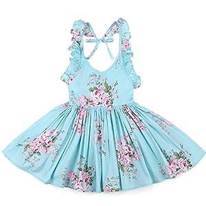 Flofallzique Girls Cotton Vintage Print Floral Princess Dress For Toddler and Girls - 515zHmG8u4L - Flofallzique Floral Little Girls Dress Summer Vintage Casual Boho Toddler Valentine Dress