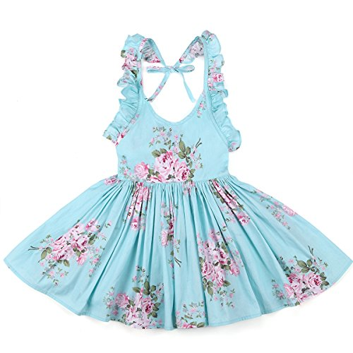 [Flofallzique Girls' Cotton Vintage Print Floral Princess Dress For Toddler and Baby Girl (5, blue)] (School Girl Dress Costumes)