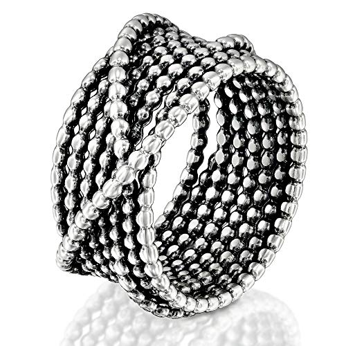 (DiDaDo Handmade 925 Sterling Silver 'Wrapped up' Overlapping Intertwined Entwined Crisscross Crossover Knotted Statement Beaded Wire Wrap Ring)