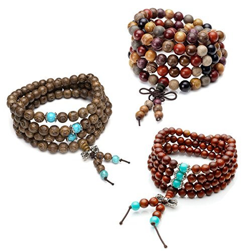 Top Plaza Unisex 108 Natural Wood 6mm 8mm Beads Bracelet Meditation Buddhist Rosary Mala Necklace (Wenge Wood+Multi Sandalwood+Cat Eye Sandalwood)