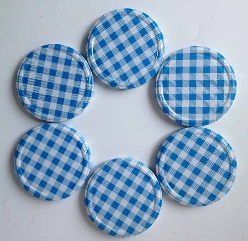 6 Blue Gingham Jam Jar Lids, 82mm