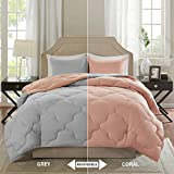 Full Bedroom Sets for Sale Comfort Spaces – Vixie Reversible Goose Down Alternative Comforter Mini Set - 3 Piece – All Season – Coral and Grey – Full/Queen Size, Includes 1 Comforter, 2 Shams