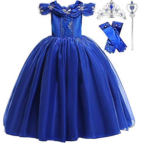 Romy's Collection Princess Butterfly Cinderella Blue Party Costume Dress-Up Set (4-5, Blue) -