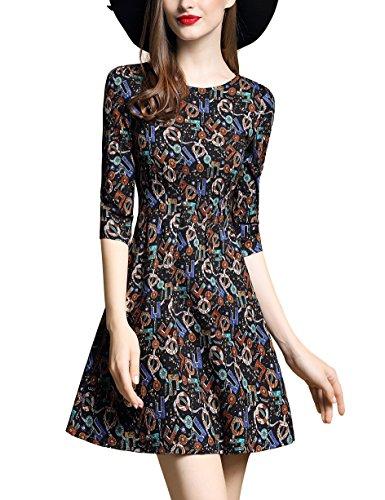 Print 3/4 Sleeve Dress - 5