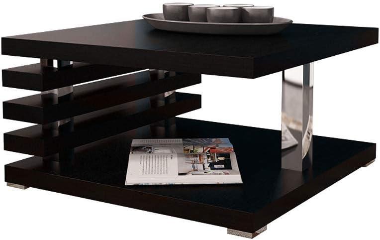 Mirjan24 Coffee Table Laminated tabletop high-Gloss Black 63.5 x 11.5 x 63.5 cm